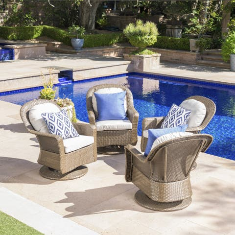Liam Outdoor Wicker Swivel Club Chair with Cushion (Set of 4) by Christopher Knight Home