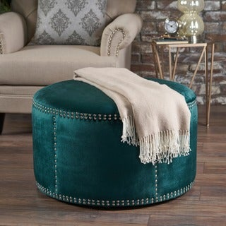 Link to Jaewon Studded Velvet Round Ottoman Stool by Christopher Knight Home Similar Items in Living Room Furniture
