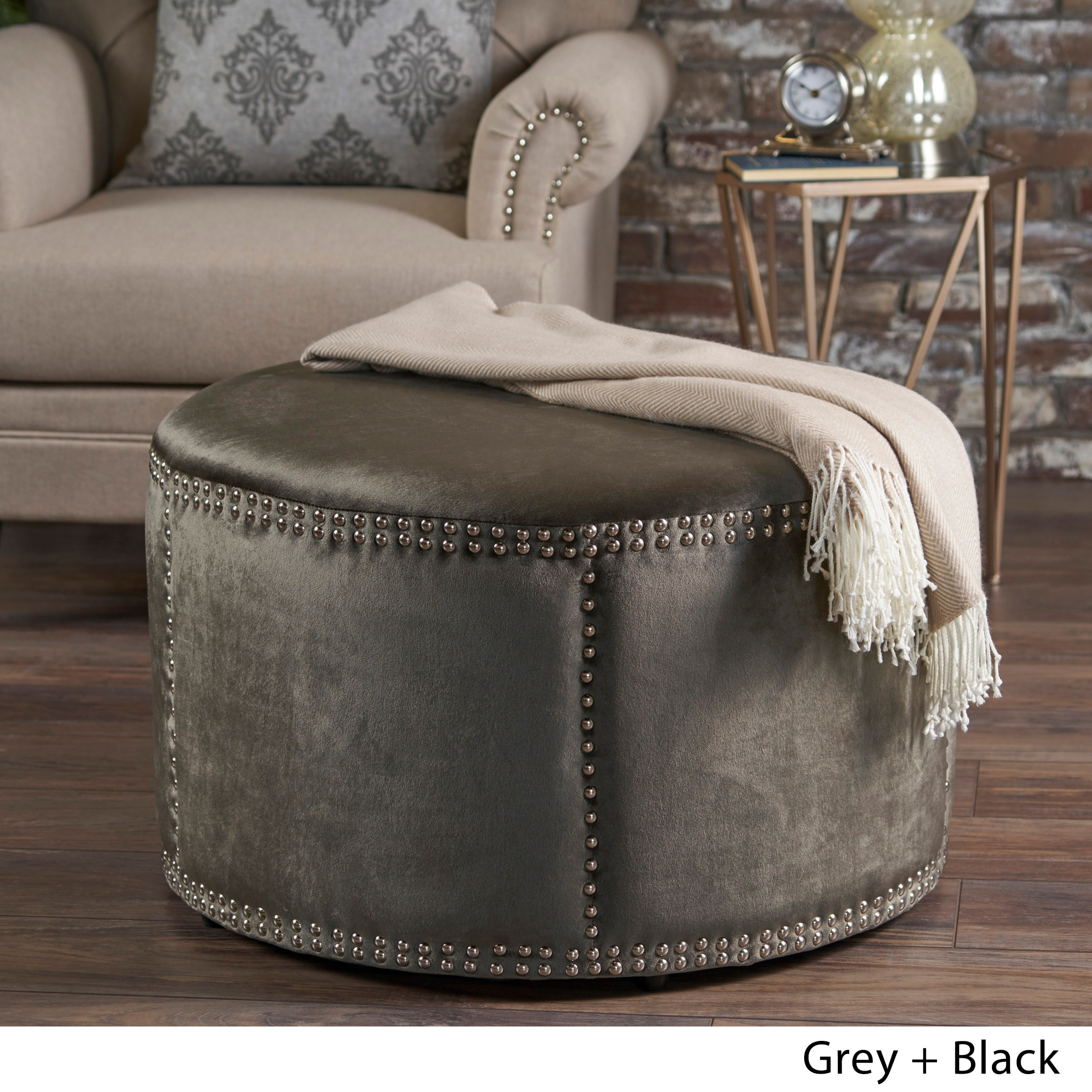 Excellent Jaewon Studded Velvet Round Ottoman Stool By Christopher Knight Home Caraccident5 Cool Chair Designs And Ideas Caraccident5Info