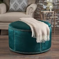 Jaewon Studded Velvet Round Ottoman Stool by Christopher Knight Home