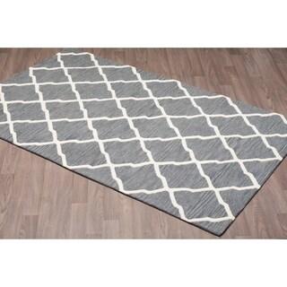 Trellis Ivory/Grey Wool Handmade Rug (5' x 8')