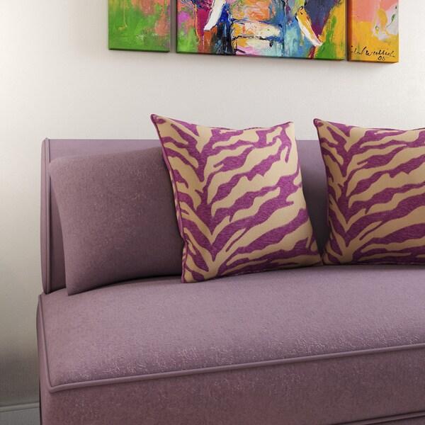 Porch & Den Allston-Brighton Blaine Opal Zebra Patterned Decorative Poly or Down-filled Pillow