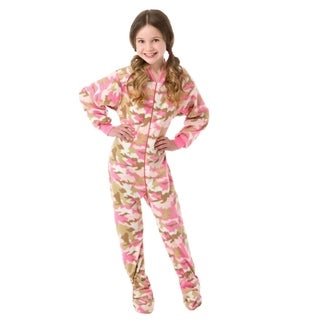 Big Feet Pjs Big Girls Pink Camo Kids Footed Pajamas Sleeper