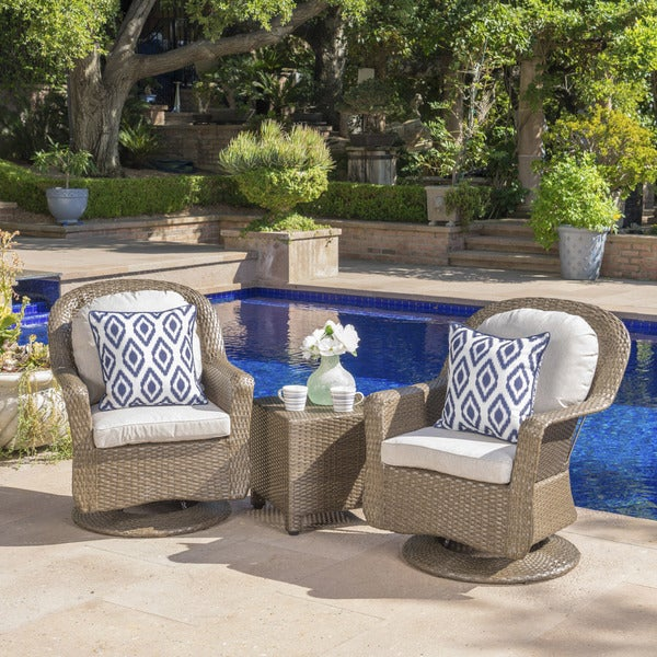 Liam Outdoor 3 Piece Wicker Swivel Seating Set With Cushion By Christopher Knight Home