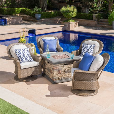 Alhambra Outdoor 5-piece Wicker Swivel Seating Set with Cushions & Stone Fire Table by Christopher Knight Home