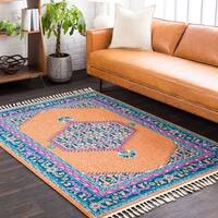 "Boho Medallion Tassel Orange Area Rug - 9'3"" x 12'1"""