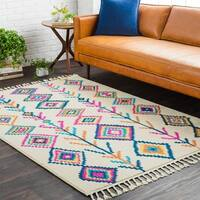 Boho Moroccan Multicolored Tassel Area Rug - 7'10 x 10'