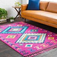 Boho Moroccan Tassel Pink Area Rug - 9'2 x 12'