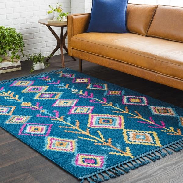 "Boho Moroccan Tassel Blue Area Rug (7'10 x 10') - 7'10"" x 10'"