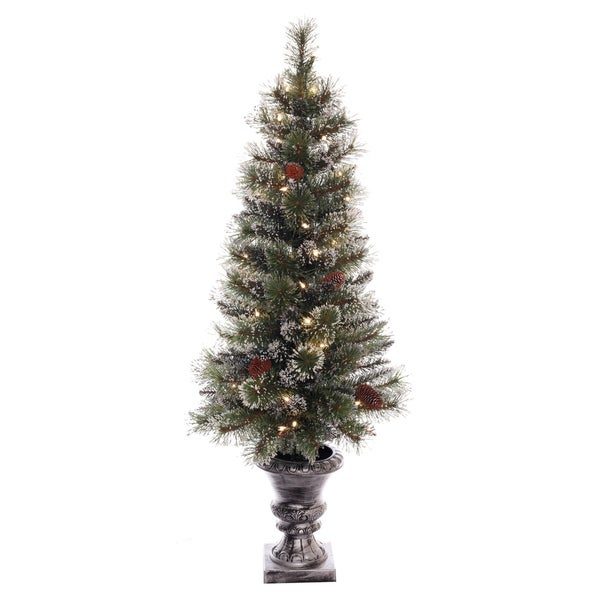puleo international 4 ft pre lit glitter potted artificial christmas tree with 50 ul