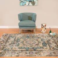 Westfield Home Britannica Catalina Blue, Natural Cotton Area Rug (5'3 x 7'2)