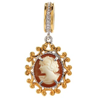 Michael Valitutti Palladium Silver Gemstone Drop Charm (Option: cameo - Orange - N)