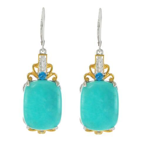 Gems en Vogue Palladium Silver Amazonite & Neon Apatite Drop Earrings