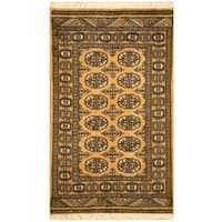Handmade Herat Oriental Pakistani Hand-knotted Bokhara Wool Area Rug - 2'6 x 4'