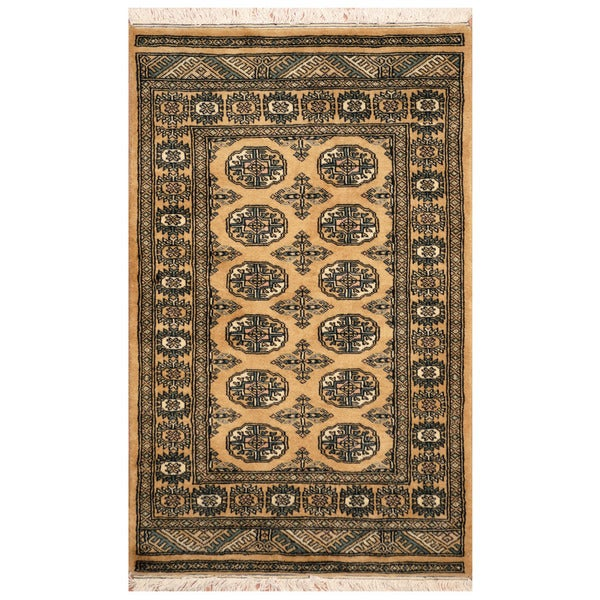"Handmade Bokhara Wool Rug (Pakistan) - 2'6"" x 4'. Opens flyout."