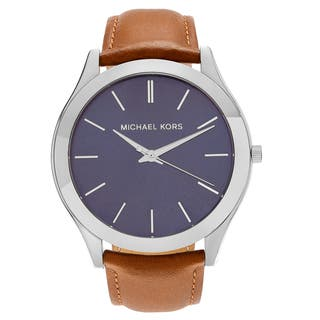 Michael Kors Men's MK8508 'Slim Runway' Stainless Steel Blue Dial Brown Leather Strap Watch|https://ak1.ostkcdn.com/images/products/17908189/P24090985.jpg?impolicy=medium