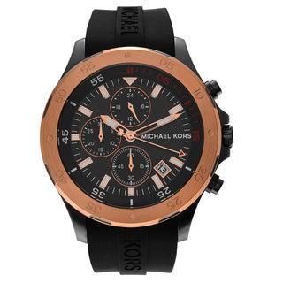 Michael Kors Men's MK8568 'Walsh' Two Tone Stainless Steel Chronograph Black Strap Watch