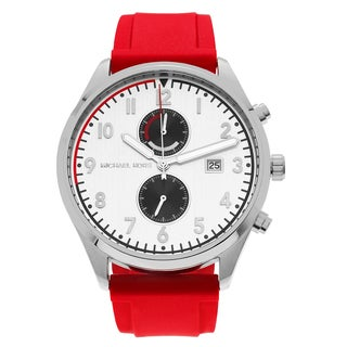 Michael Kors Men's MK8572 'Saunder' Stainless Steel Silvertone Chronograph Red Strap Watch