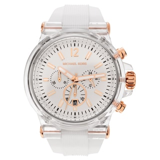 Michael Kors Men's MK8577 'Dylan' Clear Face Chronograph Dial White Strap Watch
