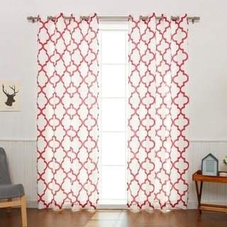 Aurora Home Moroccan Outline Curtain Panel (Set Of 2)