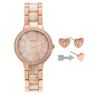 Fossil Women's ES3965SET 'Virginia' Rose Goldtone Crystal Pave Watch and Earring Set|https://ak1.ostkcdn.com/images/products/17908216/P24091004.jpg?impolicy=medium