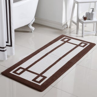 VCNY Home Greek Key 2-Tone Jacquard Memory Foam Bath Runner (Option: Taupe)