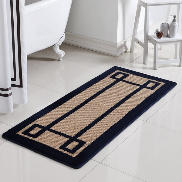 Vcny Home Greek Key Memory Foam Bath Runner On
