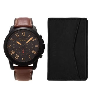 Fossil Men's FS5335SET 'Grant' Black Chronograph Leather Strap Watch and Wallet Set|https://ak1.ostkcdn.com/images/products/17908221/P24091002.jpg?_ostk_perf_=percv&impolicy=medium