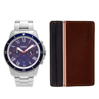 Fossil Men's FS5336SET 'Grant' Stainless Steel Blue Chronograph Watch and Wallet Box Set