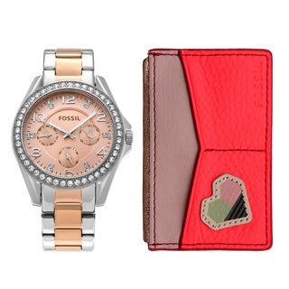 Fossil Women's ES4249SET 'Riley' Stainless Steel Crystal Pave Chronograph Watch and Wallet Set