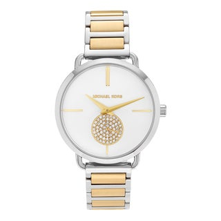 Michael Kors Women's MK3679 'Portia' Stainless Steel Crystal Pave White Dial Bracelet Watch