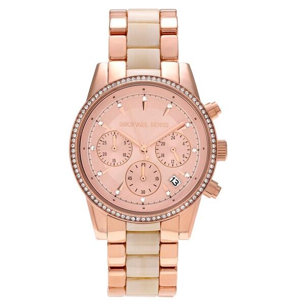 258373328af1 Shop Michael Kors Women s MK6493  Ritz  Rose Goldtone Crystal Pave ...