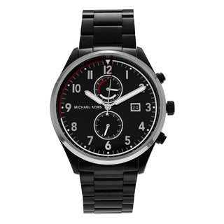 Michael Kors Men's MK8575 'Saunder' Black Stainless Steel Chronograph Dial Link Bracelet Watch