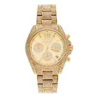 Michael Kors Women's MK6494 'Bradshaw' Goldtone Crystal Pave Chronograph Dial Bracelet Watch