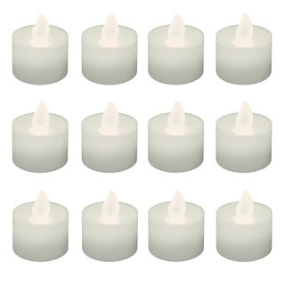 Battery Operated LED Tea Light Candles- Flickering White (12 Count)