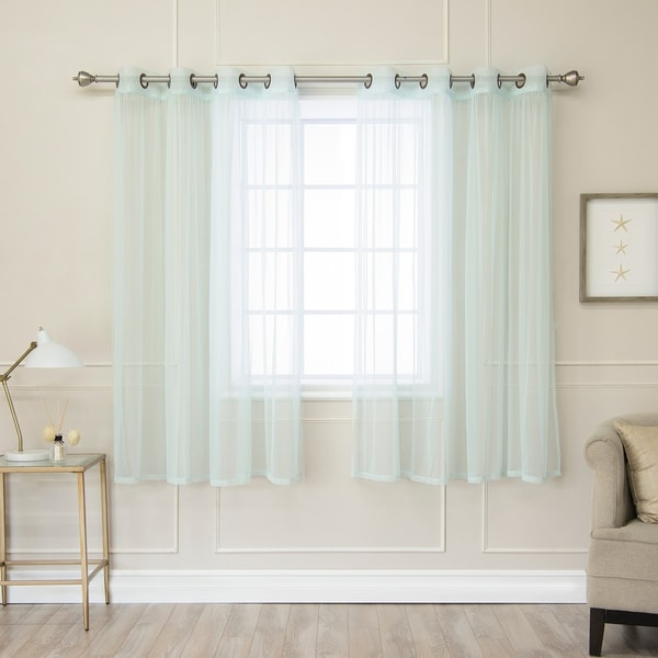 Aurora Home Pastel Tulle Lace Curtain Panel Pair. Opens flyout.