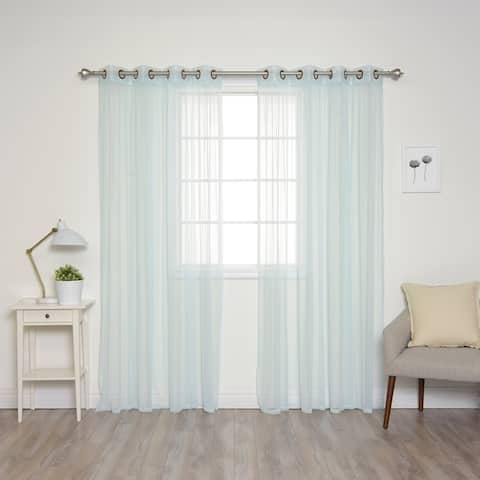 Aurora Home Pastel Tulle Lace Curtain Panel Pair