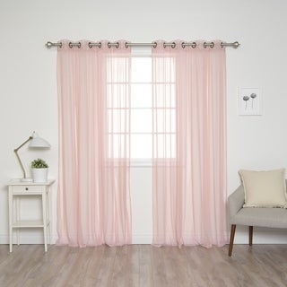 Aurora Home Pastel Tulle Lace Curtain Panels (Set of 2) (More options available)