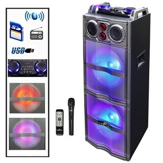 beFree Sound Double 10 Inch Subwoofer Bluetooth Portable Party Speaker
