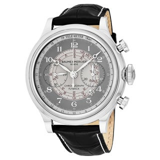 Baume & Mercier Men's MOA10086 'Capeland Flyback' Grey Dial Black Dial Chronograph Swiss Automatic Watch