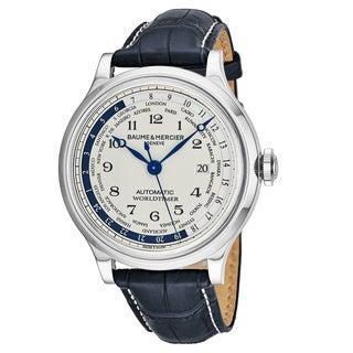 Baume & Mercier Men's MOA10106 'Capeland' Silver Dial Blue Leather Strap GMT Swiss Automatic Watch