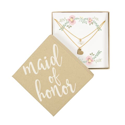 Personalized Maid of Honor Gold Double Chain Pearl Necklace