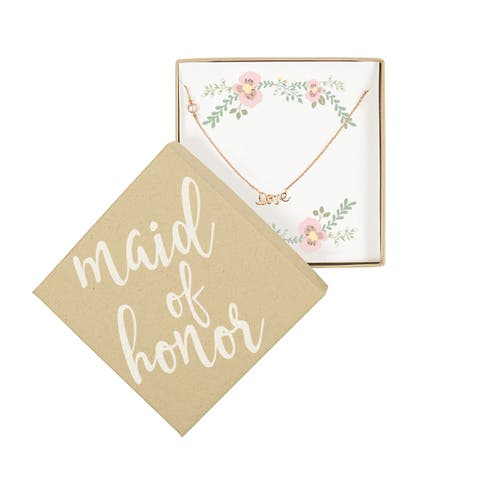 Rose Gold Maid of Honor Love Necklace