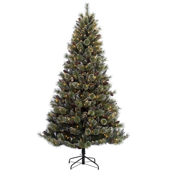 Puleo International 7.5 ft. Pre-lit Green Cashmere Artificial Christmas Tree  w Snowy and - Puleo International 7.5 Ft. Pre-lit Green Cashmere Artificial Christmas  Tree W Snowy And Silver Glitter And 600 UL Clear Lights