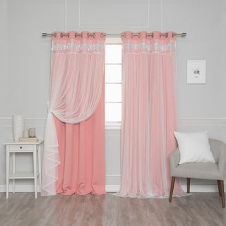 aurora home falling hearts tulle overlay blackout curtain panels set of 2