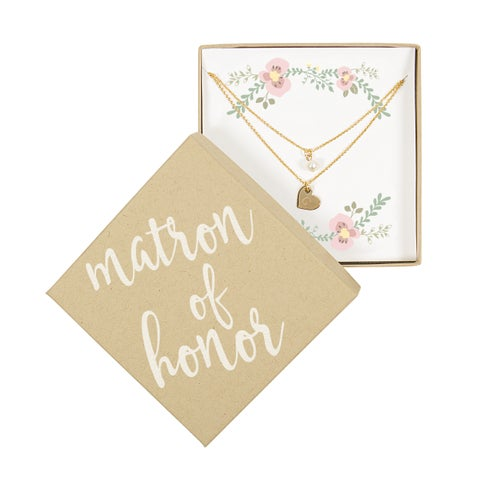 Personalized Matron of Honor Gold Double Chain Pearl Necklace