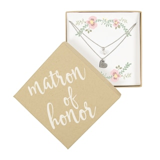 Personalized Matron of Honor Silver Double Chain Pearl Necklace