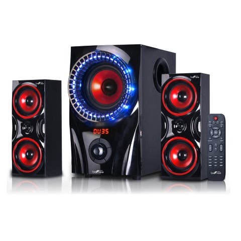 beFree Sound 2.1 Channel Surround Sound Bluetooth Speaker System in Red