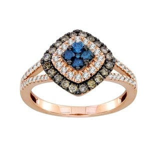 10k rose women's 3/4ct tw enhanced blue and natural brown diamond  fashion ring.