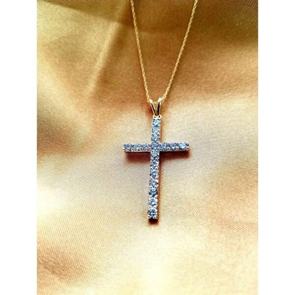 10k 1/4ct white & yellow diamond traditional women's cross necklace